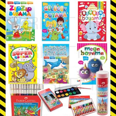 Okul Oncesi Boyama 6 Kitap Faber Kuru Keceli Pastel Sulu Bo