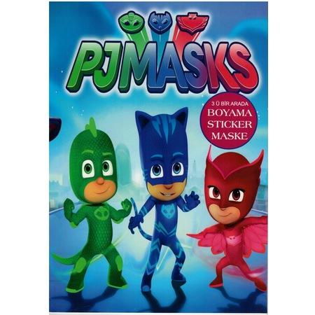 Pjmask Pijamaskeliler Boyama Kitabi Sticker Maske 5 Adet