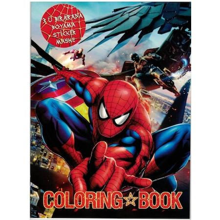 Spiderman Orumcek Adam Boyama Kitabi Sticker Maske Super 3 Lu