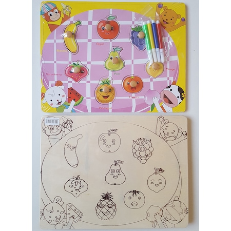 Ahşap Ingilizce Meyveler Boyamalı Ve Tutmalı Puzzle N11com