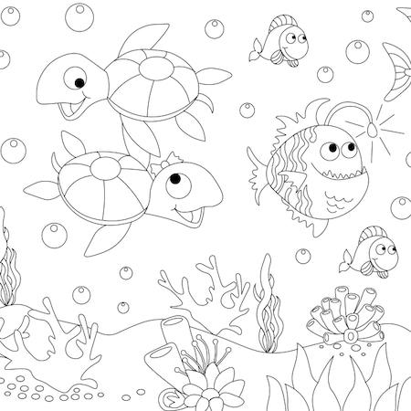 Deniz Altında Yaşayan Canlılar Boyama Yazdırılabilir Boyama Sayfaları
