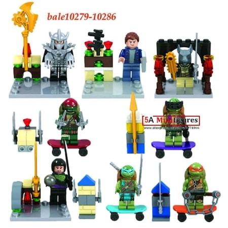 Lego Ninja Turtles 8 Minifigür Ninja Kaplumbağalar Oyuncak Seti