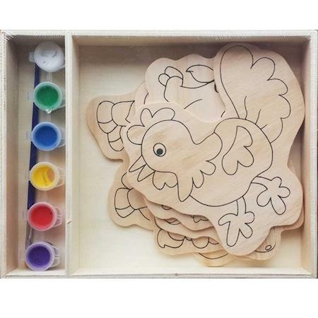 Eğitici Ahşap Boyama Set Akıl Oyunu Boya Fırça 5 Figür Seti