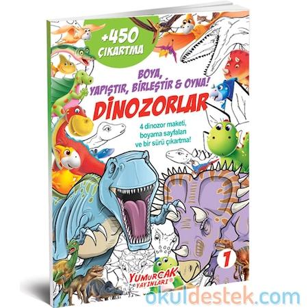 Dinozorlu 1 çıkartmalı Boyama Kitabı Boya Yapıştır Birleştir N11com