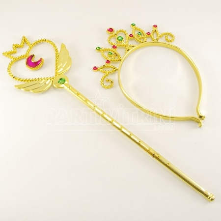 Gold Renk Prenses Tacı Ve Asa Seti N11com