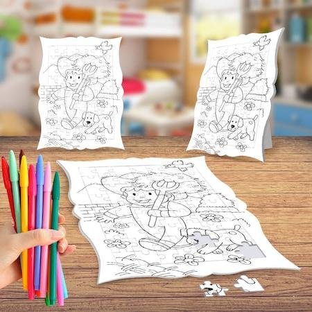 Küçük çiftçi Ve Köpeği Boyama Puzzle Tablo çocuk Eğitici Yapboz