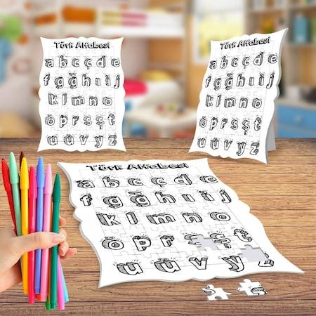 Türk Alfabesi Boyama Puzzle Tablo çocuk Eğitici Yapboz N11com