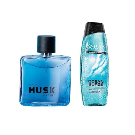 Avon Musk Marine Edt Erkek Parfüm Ve Senses Ocean Surge Duş Jeli