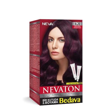 Nevaton Saç Boya 420 Patlıcan Moru Bir Kutuda 2 Boyama N11com