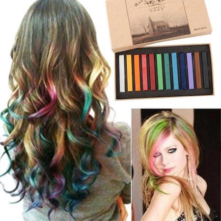 Saç Tebeşiri Renkli Saç Tebeşiri Boyası 12 Li Saç Boyama Tebeşiri