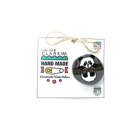 Handmade Ahşap El Yapımıel Boyaması özel Tasarım Panda Broş N11com
