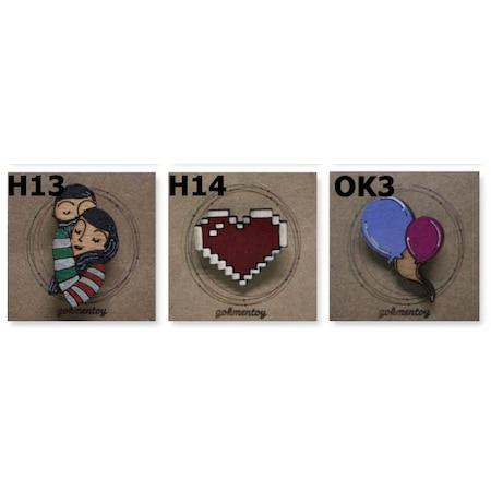 Sevgili Kalp Balon Ahşap El Boyaması Broş Rozet