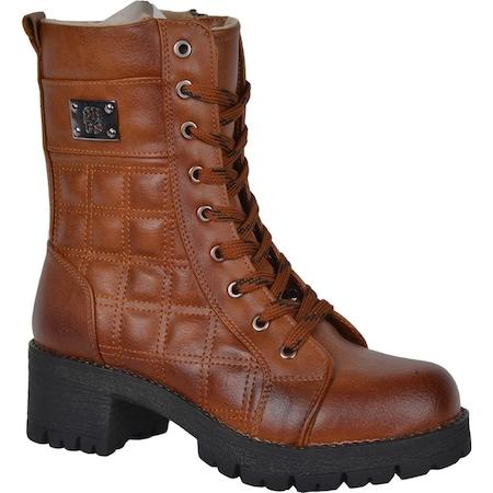Nstep 1919 Zn Bağcıklı Fermuarlı İçi Termal Kürk Bayan Bot Ayakkabı