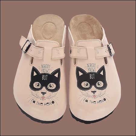 Kahraman Kedi Temalı Özel Tasarım Sabo Terlik OST-624