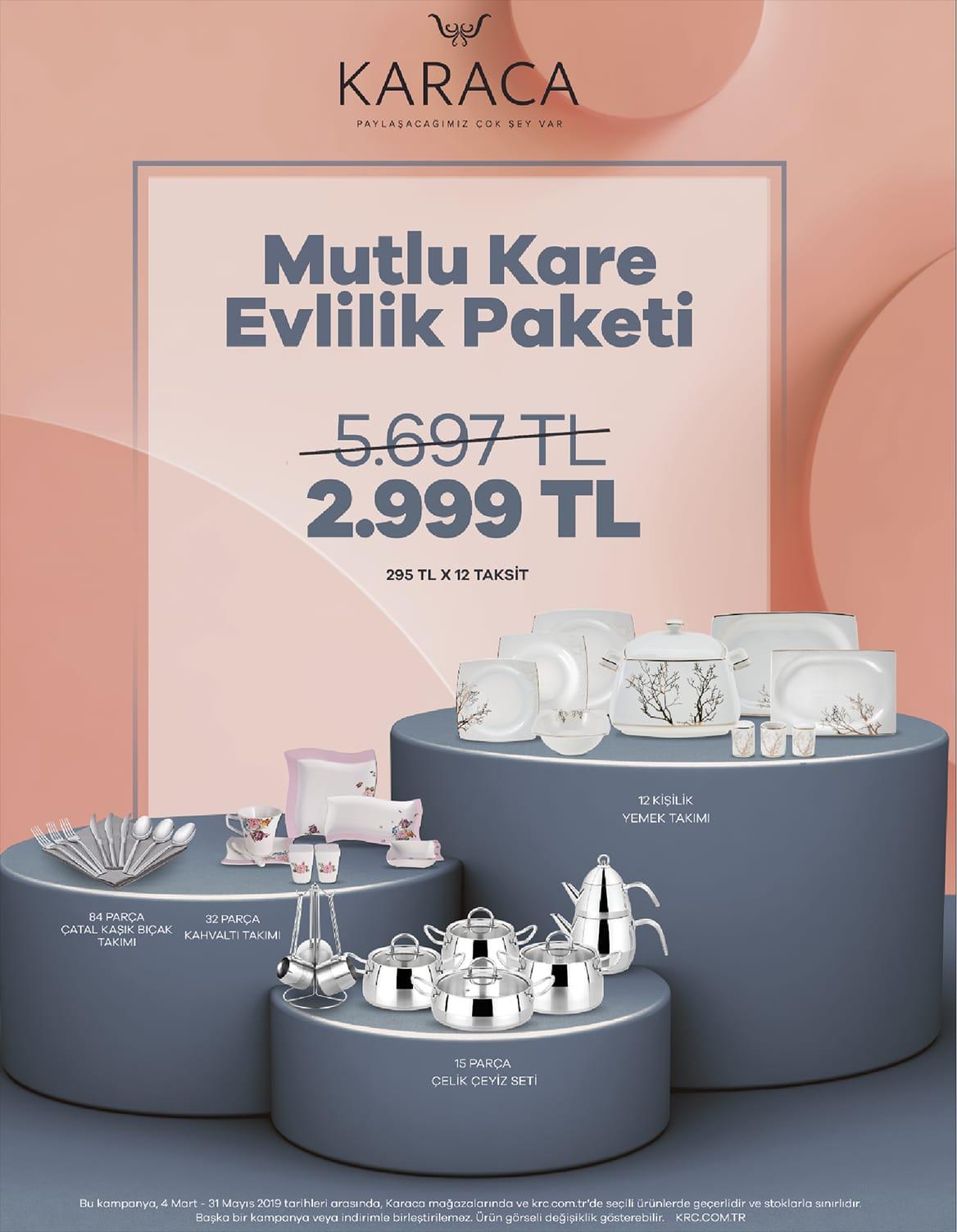KARACA MUTLU KARE EVLİLİK PAKETİ ÇELİK SETLİ !!