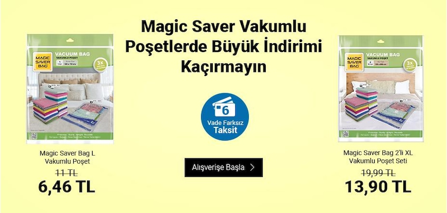 magic saver vakumlu torba