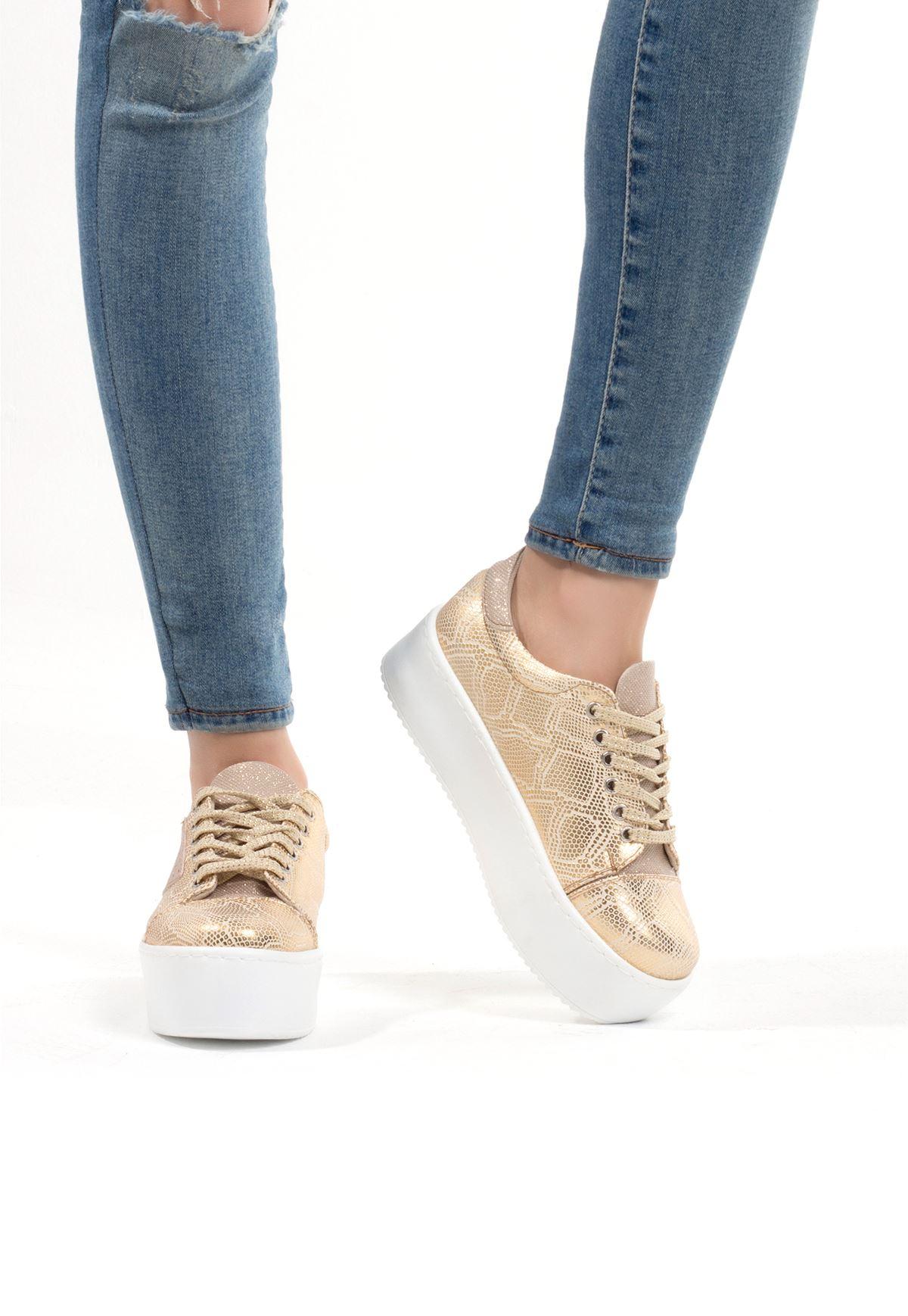 Ayç Gold Desenli Bayan Yüksek Taban Ayakkabı