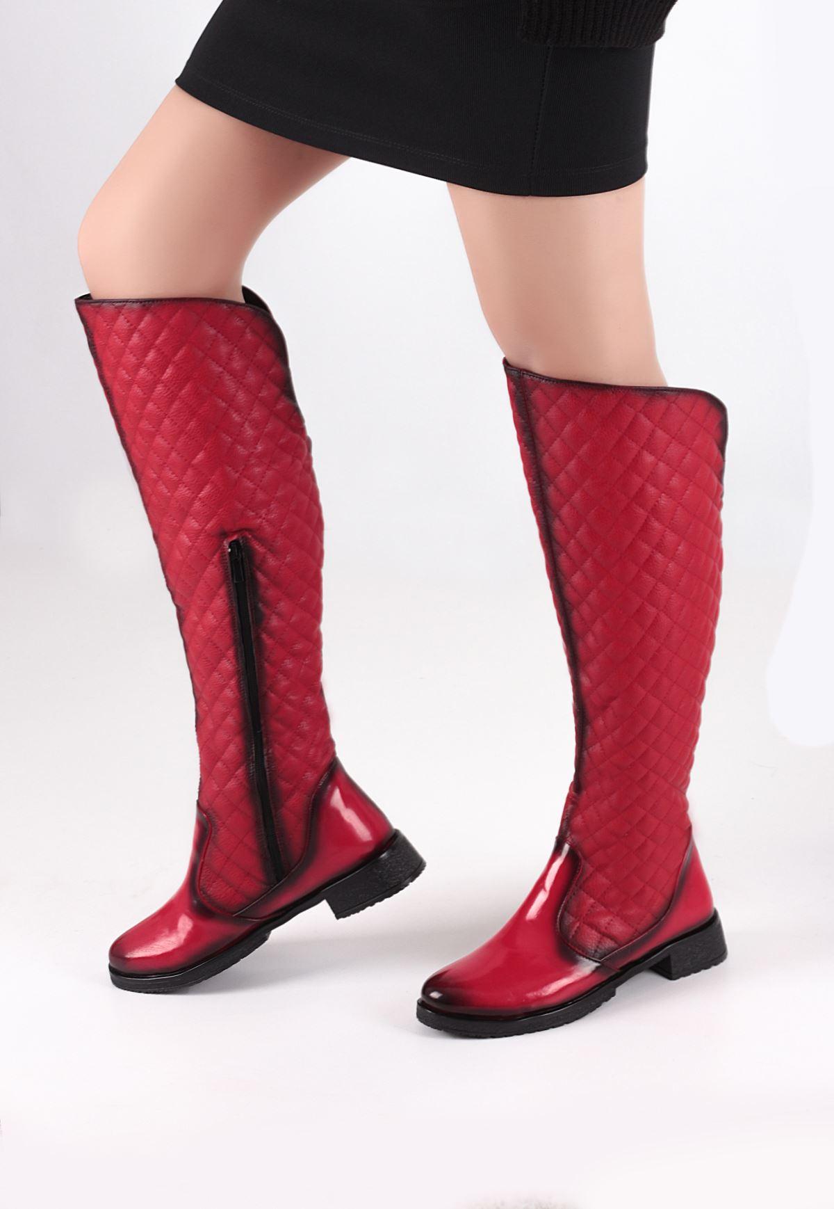 Kırmızı Capitone Bayan Çizme Modeli