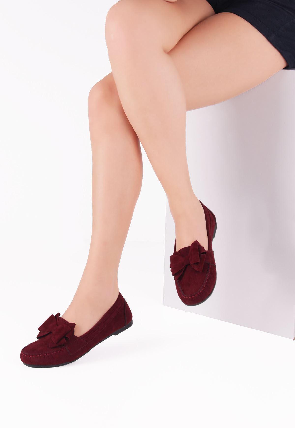 İni Bordo Kurdelalı Süet Bayan Babet Ayakkabı