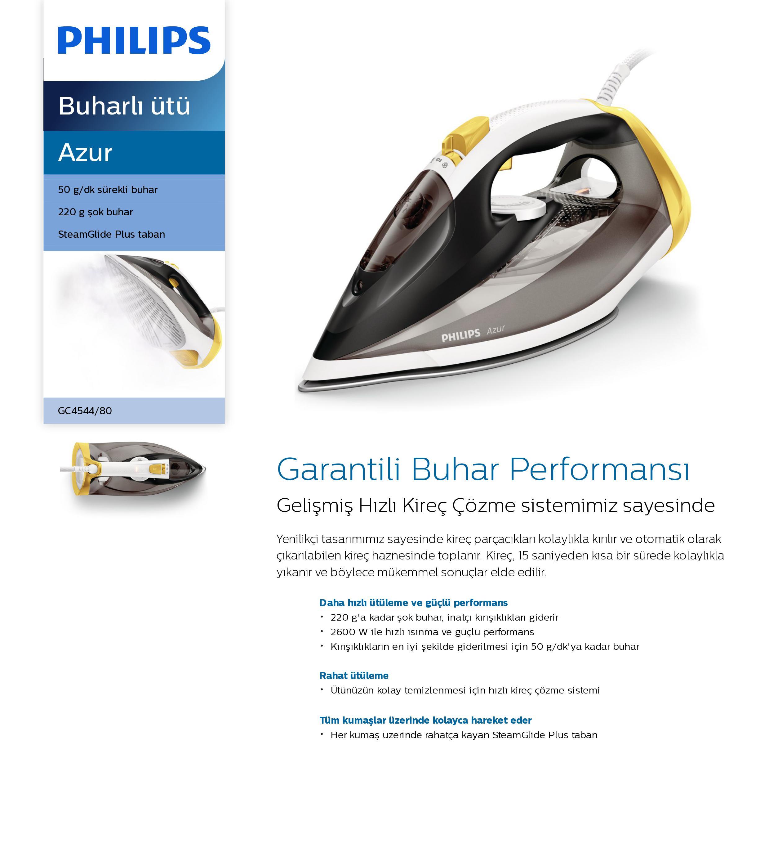 Philips GC4544/80 Azur Buharlı Ütü