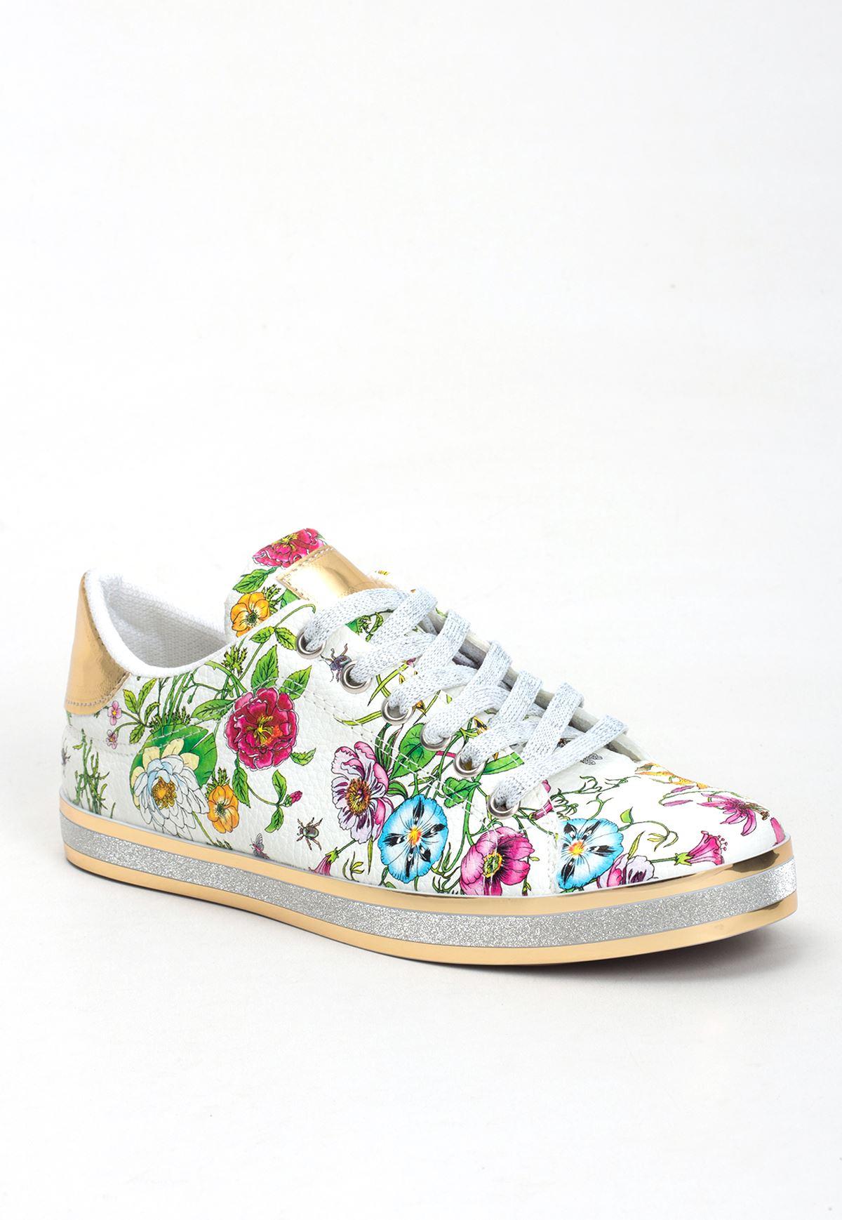 Rec Beyaz Çiçek Desenli Bayan Spor Ayakkabı