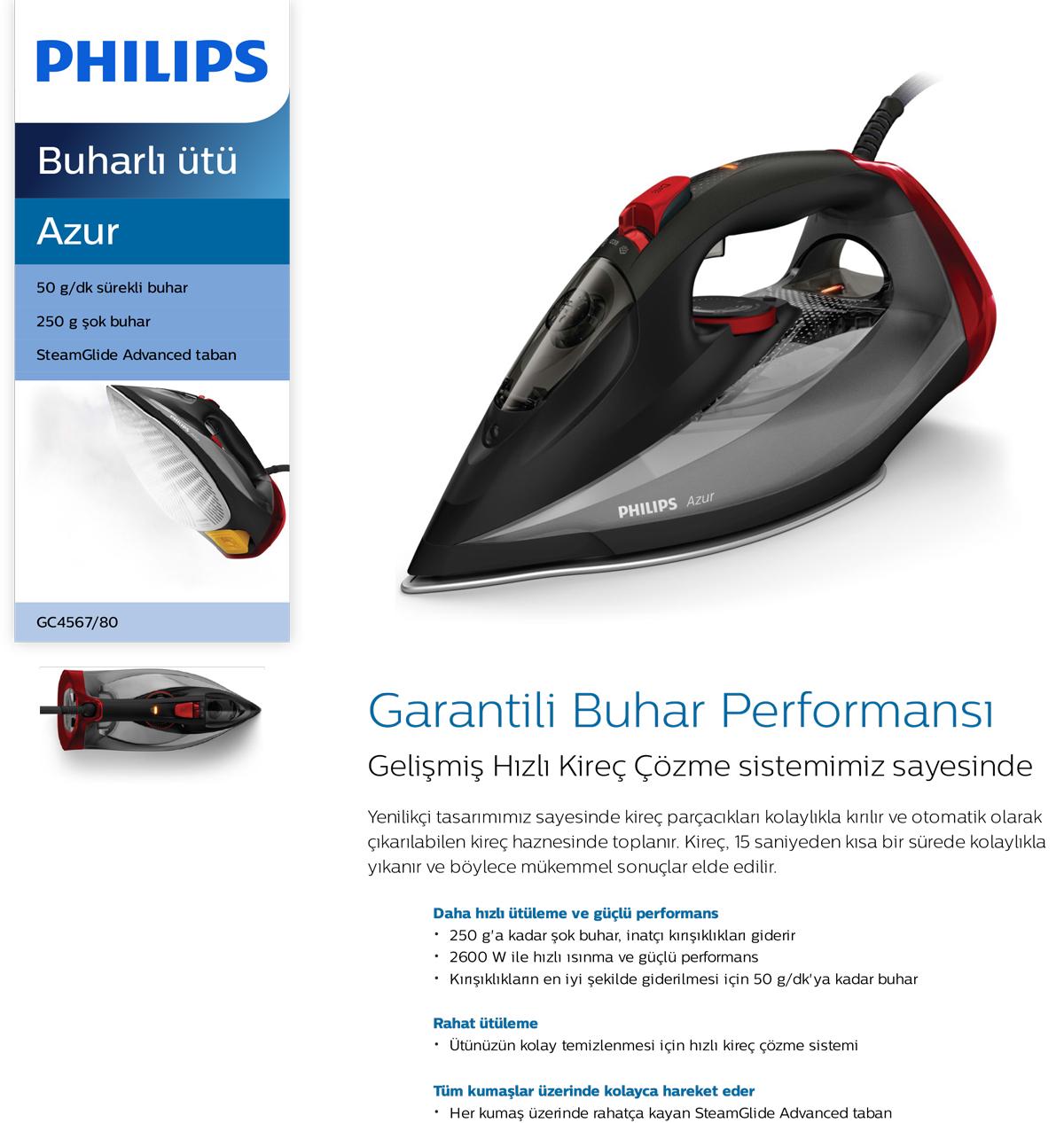 Philips GC4567/80 Azur 2600 W Buharlı Ütü