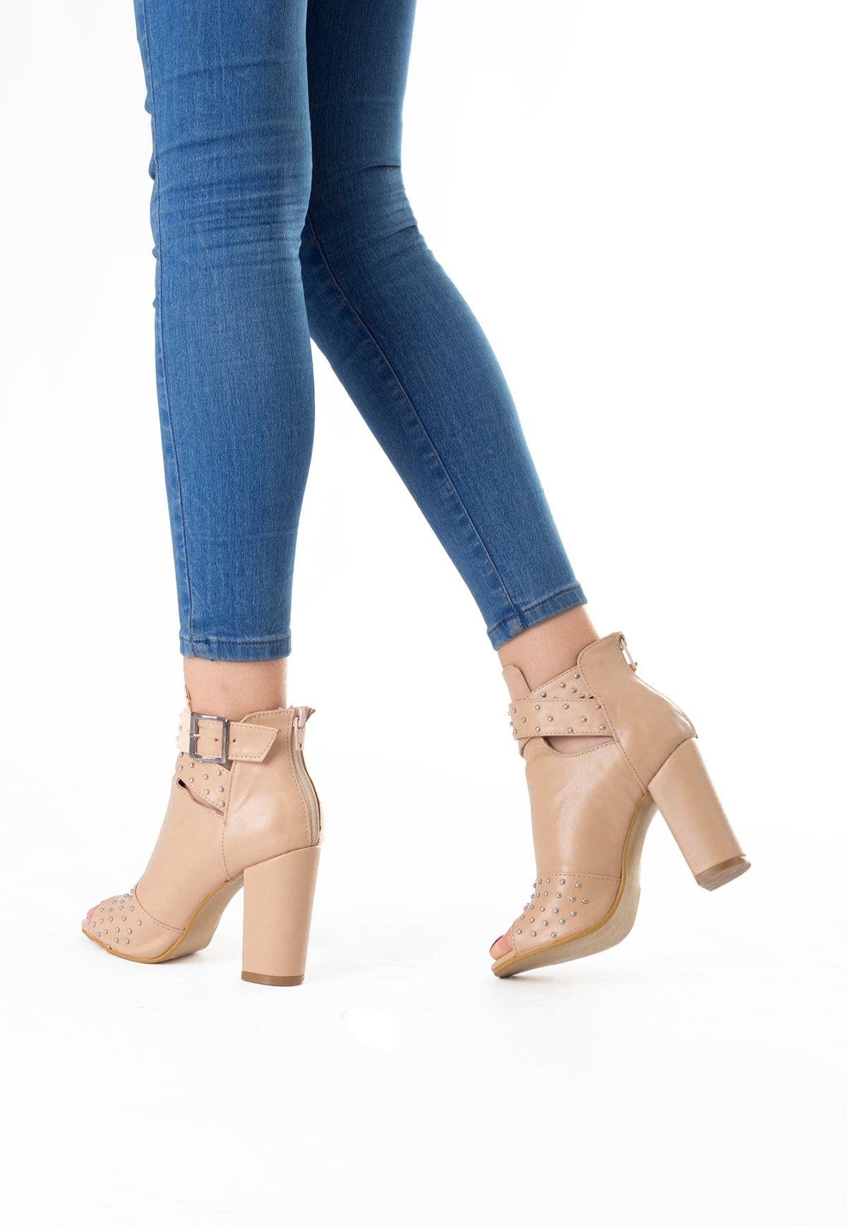 Mrt Krem Kemerli Taşlı Bayan Topuklu Ayakkabı