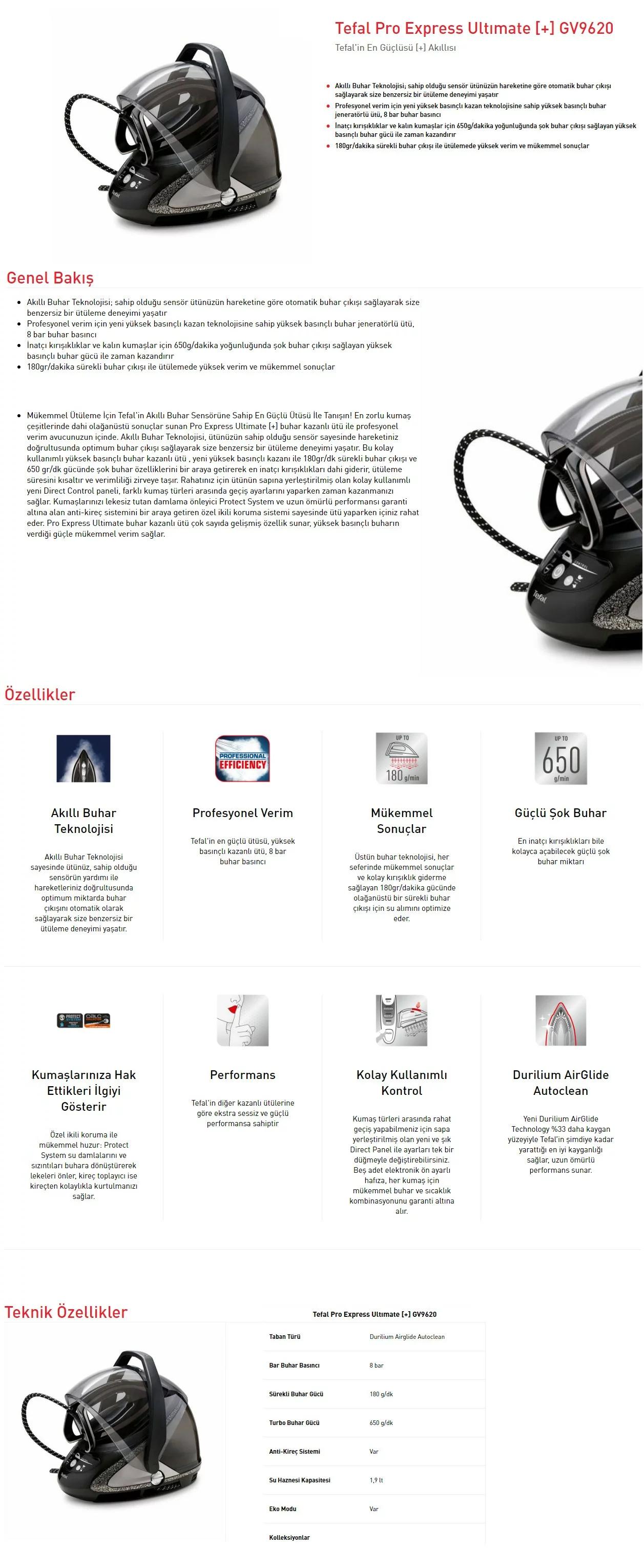 Tefal GV9620 Pro Express Ultimate Ütü Özellikleri