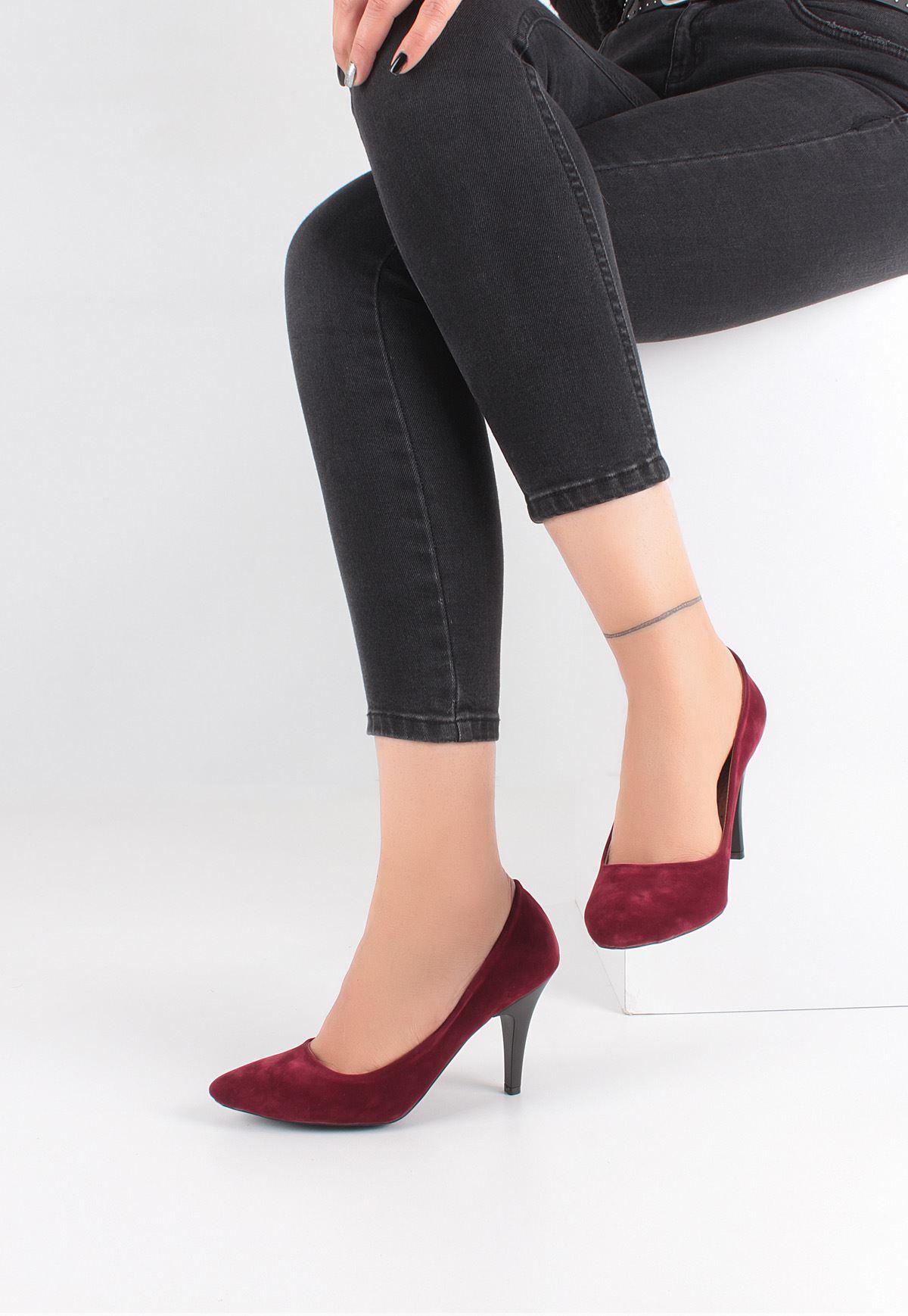 Bordo Renk Süet Bayan Stiletto Ayakkabı
