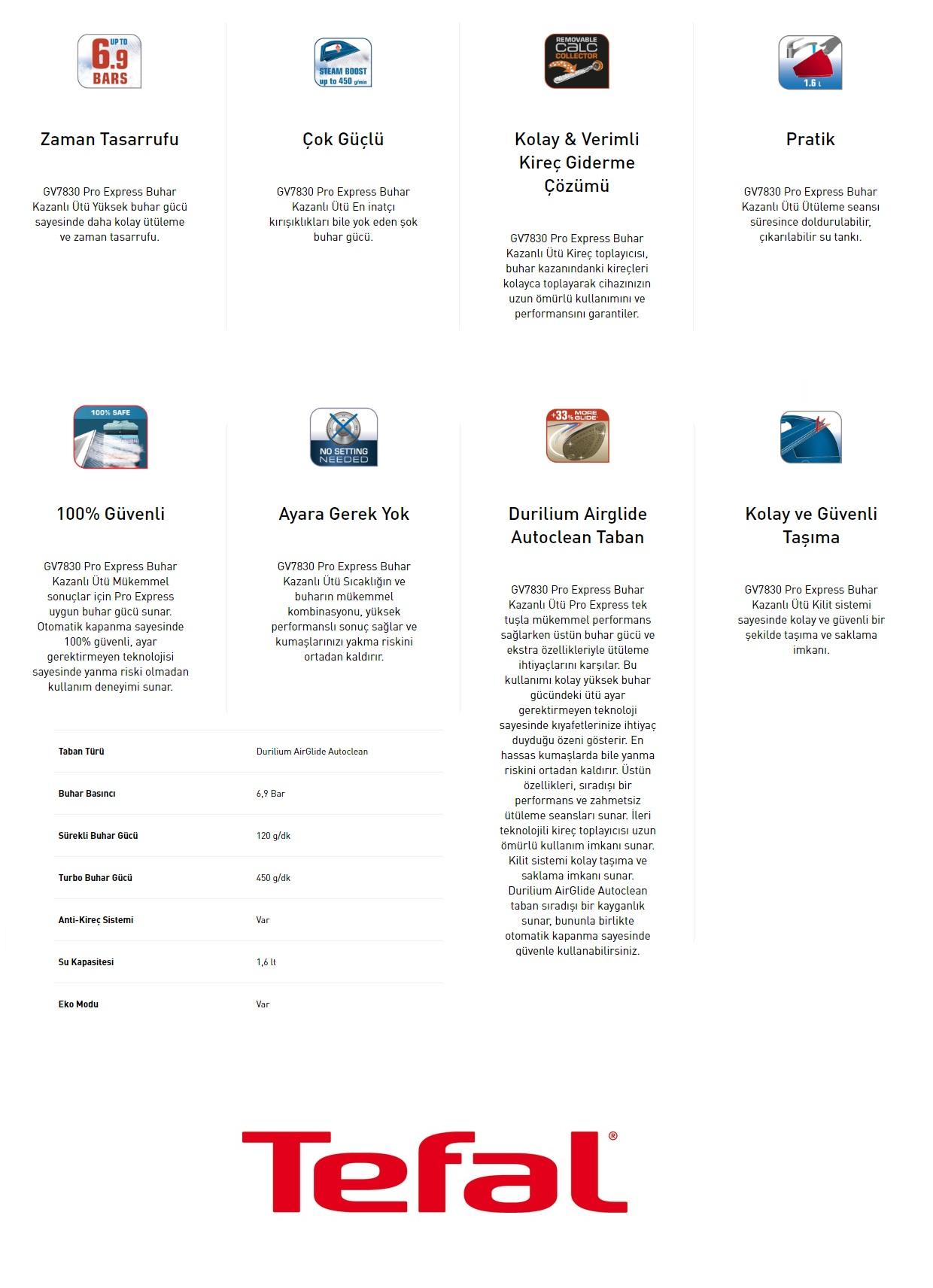 Tefal GV7830 Pro Expres Buhar Kazanlı Ütü Özellikleri