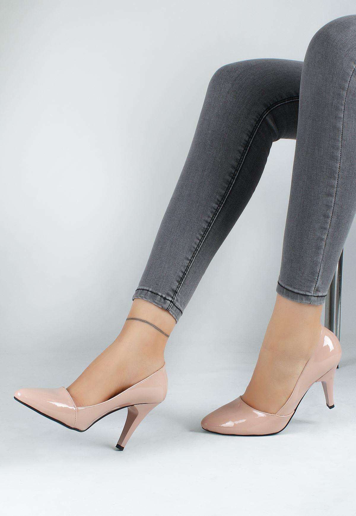 Erb Pudra Rugan Yan Kesim Bayan Stiletto Ayakkabı