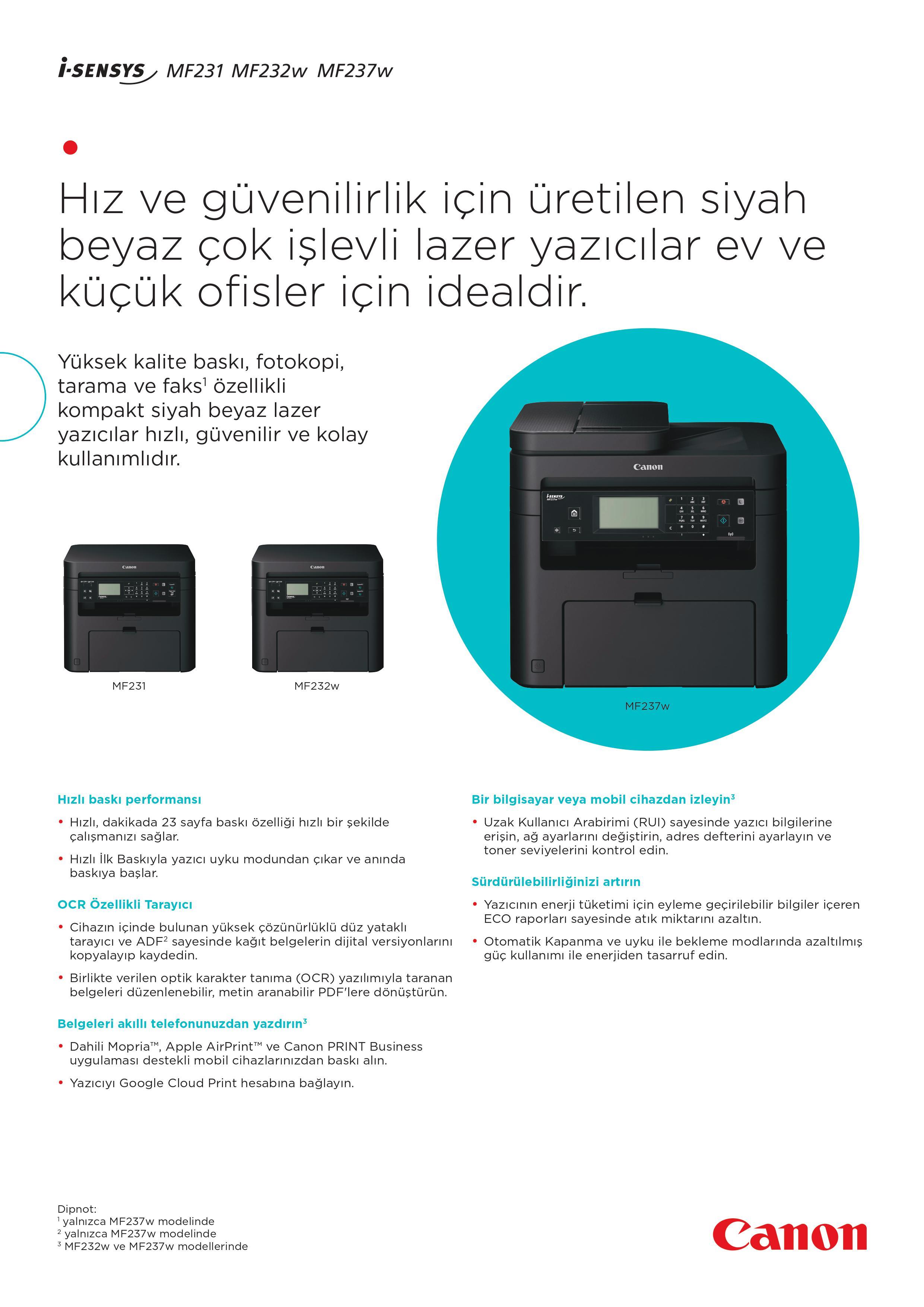 Canon i-Sensys MF237W Wifi Çok Fonksiyonlu Lazer Yazıcı