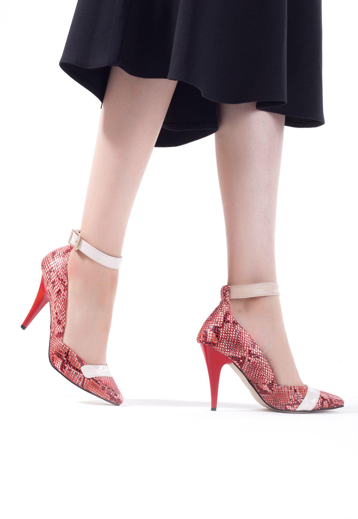 Erb Bordo Krem Yılan Derisi Desenli Bayan Stiletto Ayakkabı