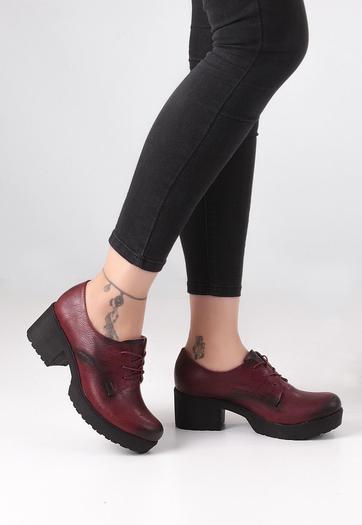 Erb Bordo Cilt Bayan Oxford Ayakkabı