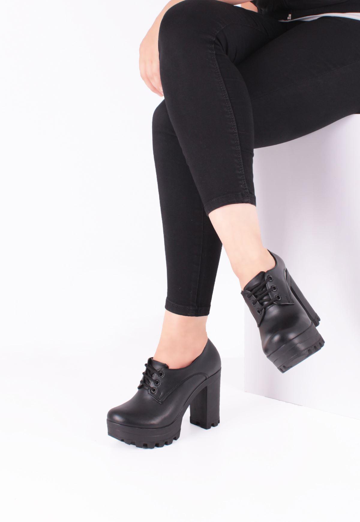 Ysf Siyah Cilt Deri, Bağcıklı Bayan Platform Topuk