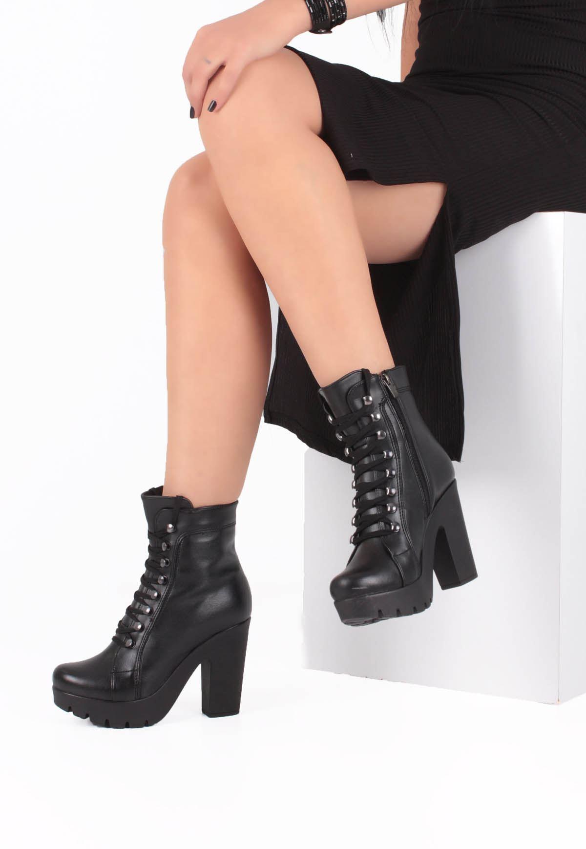 Erb Siyah Cilt Çengel Bağcıklı Yüksek Topuk Bayan Bot