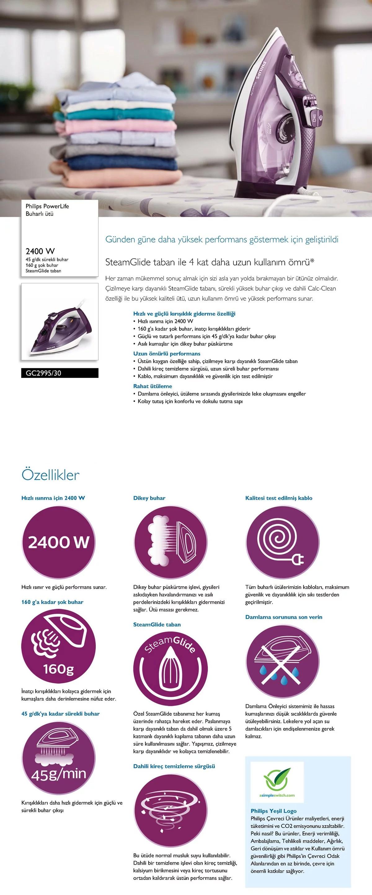 Philips GC299530 Powerlife Buharlı Ütü