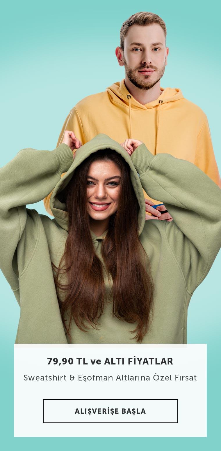 Erkek ve Kadın Giyim Sweatshirt & Eşofman Ürünlerinde Max 79.90 TL
