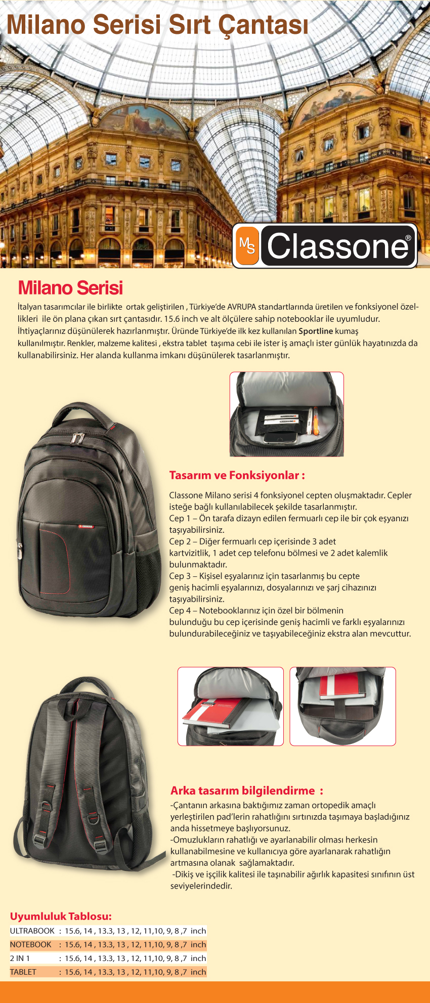 ae6fc29225a1a ... Notebook Sırt Çantası BP-L100. Orijinal Classone + Ücretsiz Kargo