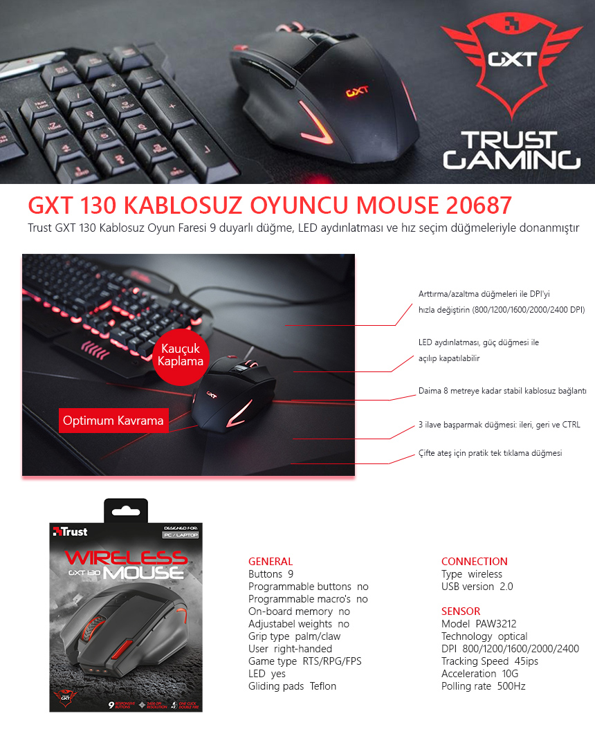 19511c35aab Trust 20687 Gxt 130 Wireless Kablosuz Gaming Mouse 2400 Dpı - n11.com