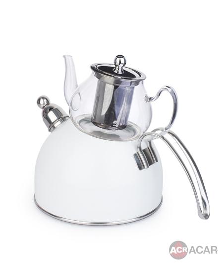 Acar Düdüklü Çaydanlık Beyaz