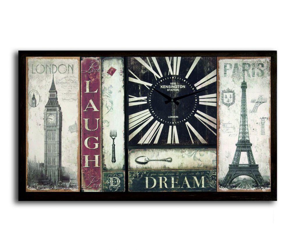 Kensington London And Paris Duvar Saati Tablo Yatay,100 x 60 x 5 Cm