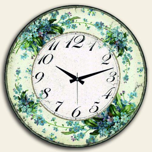 Mavi Çiçekli Klasik Duvar Saati Yuvarlak,50 X 50 Cm