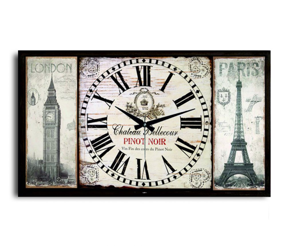 Pinot Noir London And Paris  Duvar Saati Tablo Yatay,100 x 40 x 5 Cm