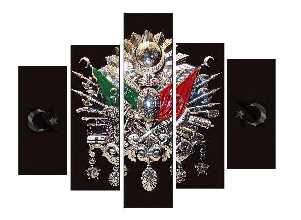 Osmanlı Tuğrası 5 Parça Kanvas Tablo Dikey,150 X 80 Cm