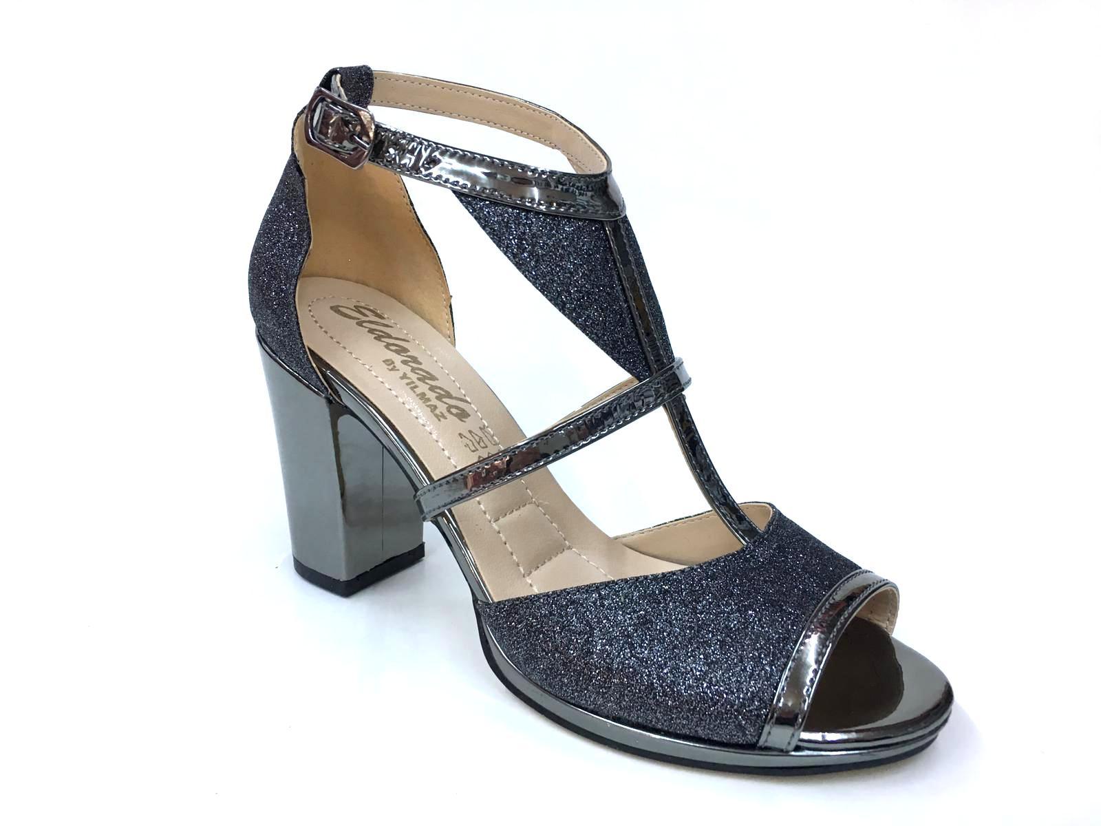 c8ae043a611ef Eldorado Altın Siyah Gümüş Platin Renk Topuklu Kadın Ayakkabı - n11.com
