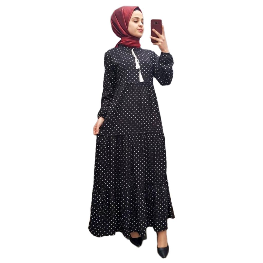 dd2016e47eac8 Dört Parça Puantiyeli Elbise -siyah - n11.com