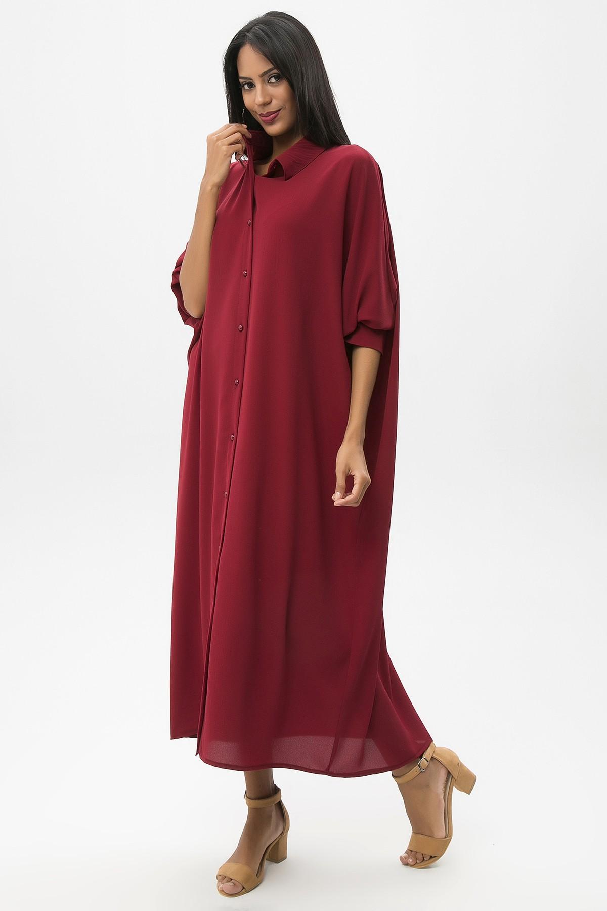 cf875bf6299e7 Bordo Kadın Uzun Salaş Elbise. 650-2032_062