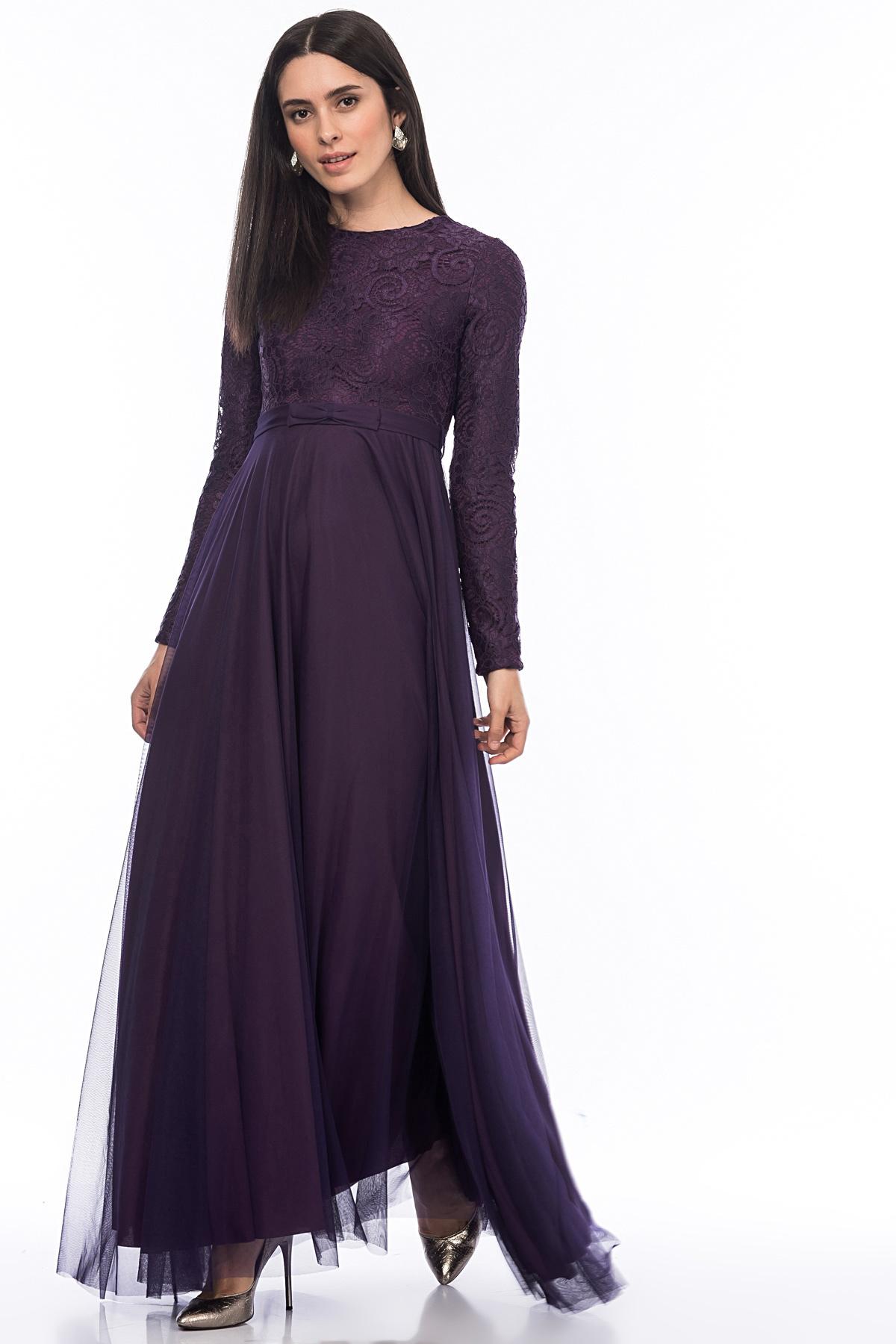 85ab40fab2b30 İroni Üstü Dantel Altı Tül Uzun Abiye Elbise - n11.com