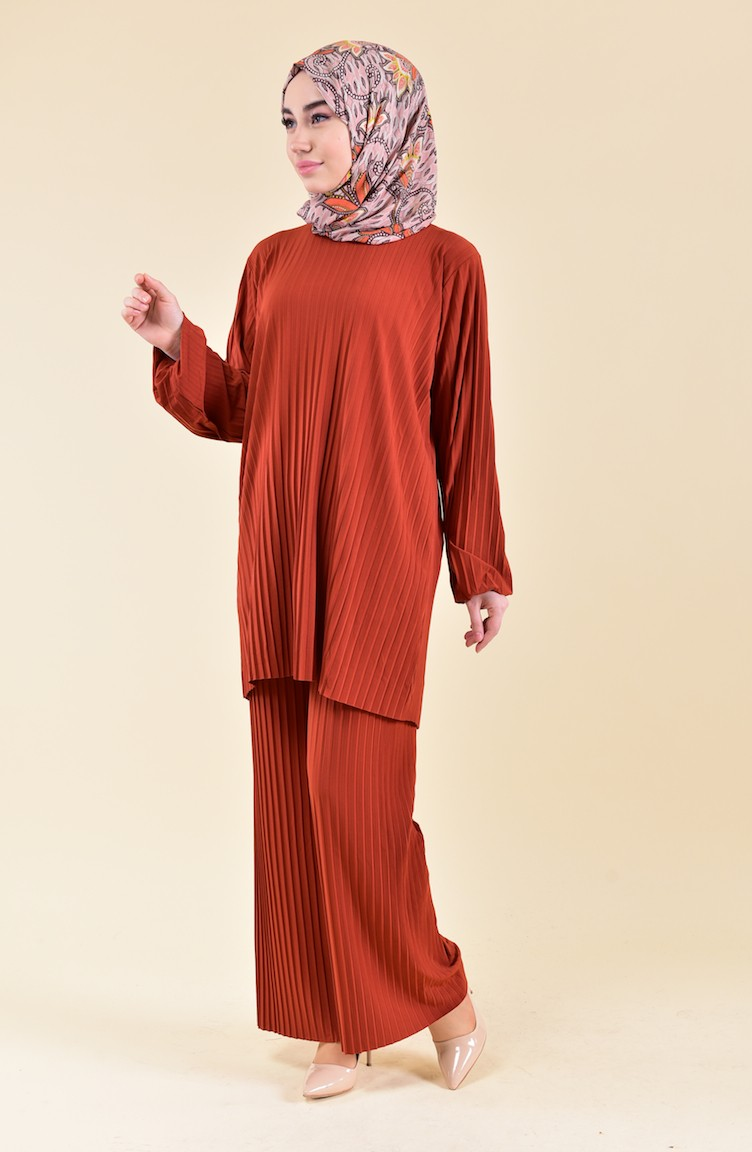 a6f1c541fe6f9 Tesettür Giyim Elbise Piliseli Tunik Ve Pantolon İkili Takım - n11.com